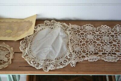 Vintage 4 hand  embroidered doily doilies crotchet sandwich tray display