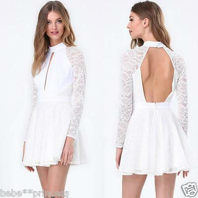 NWT bebe white lace cutout chest long sleeve open back flare top dress XS 0 2