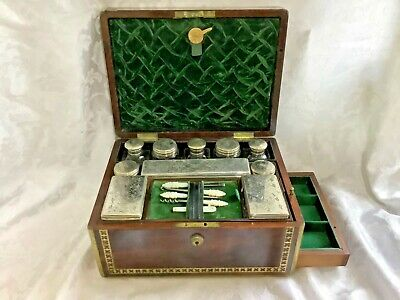 Superb William Iv Rosewood Brass Bound Vanity Jewellery Box,Complete.