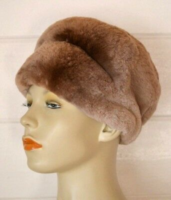 Vintage fur women's hat  small size 50 cm approx rabbit   brown dress hat lady's