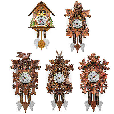 Spring Floral Cuckoo Bird House Pendulum Wall Clock Birdhouse Swinging Bird