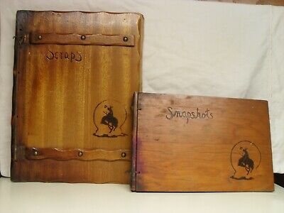 Antique Scraps Book And Snaps Album Wooden Western Scrapbook