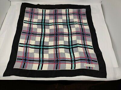 "YSL Yves Saint Laurent Plaid Multi Color Scarf Scarves 100% Silk 22"" X 24"""