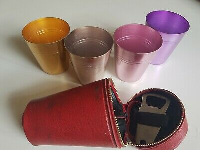 4 x Vintage anodised cups inc original case & bottle opener collectable barware