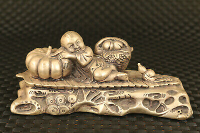 tibet silver casting child rest statue noble table decoration gift