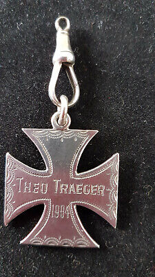 Sterling Silver Maltese Cross With A Name And A Date 1904. No Information !