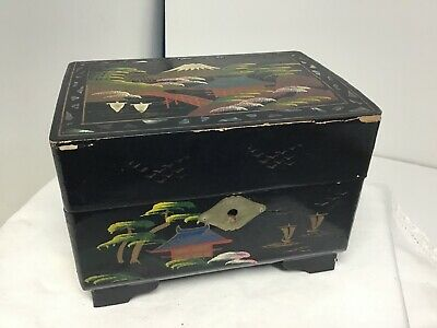 Vintage black lacquered Hand Painted Oriental Jewellery Music Box