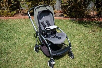 Bugaboo Bee 3 Pram Grey Melange / Khaki -Excellent Condition, with cup tray