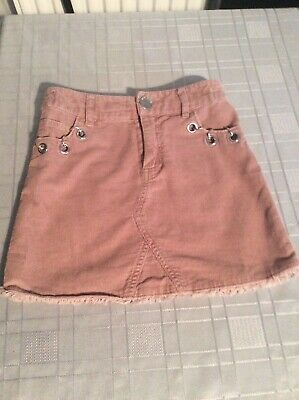 River Island Corduroy & Chain Frayed Skirt Age 5 Years Adjustable Waist Vgc