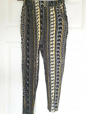 Excellent Condition Tu Black Print Girls Trousers Age 8 Years