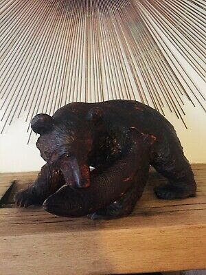 Beautiful Large Carved Bear Glass Eyes Vintage