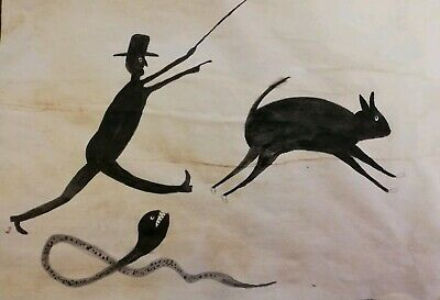 Bill Traylor outsider artist replica sketch/Painting (Man,animal and snake)