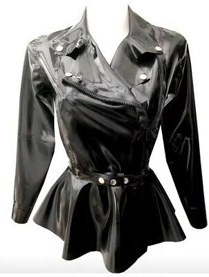 latex size 12-14s Biker peplum jacket with belt gummi rubber fetish