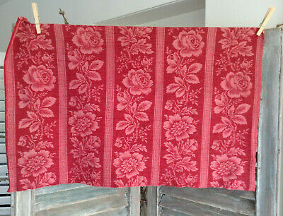 Antique French Printed Red Toile Cotton Fabric Greek Key Floral Tonal Pink Rose
