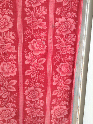 Antique French Printed Red Toile Cotton Fabric Greek Key Floral Pink Rose Cutter