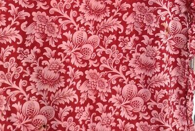 Antique French Printed Red Toile Cotton Fabric 19th century Floral Pink  Cutter