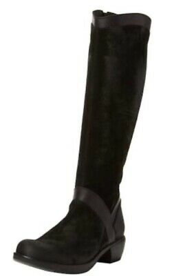 Beautiful Black Knee High Boots Suede And Leather 38 ( Uk5 ) Low Heel Fly London