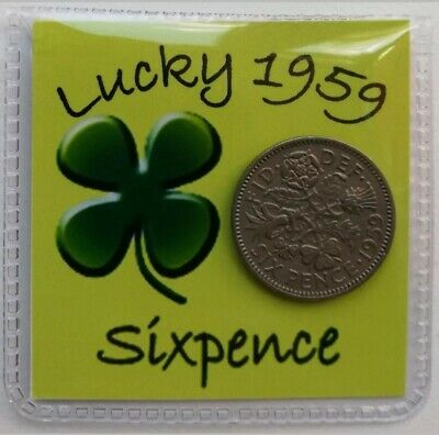 Shamrock Good Luck / Lucky Year Sixpence gifts 1948 -1967 *Free 1st Class Post*