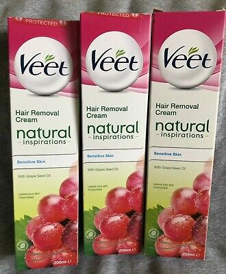 3x VEET Natural Inspirations Hair removal Cream Sensitive Skin Grape Seed 200ml