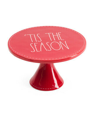 New! Rae Dunn Red Christmas 'TIS THE  SEASON Cake Stand Plate White Stitching