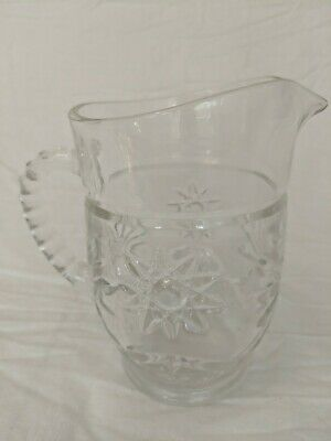 Vintage Pressed Glass Small Carafe Pitcher - Juice/Creamer