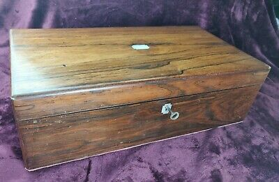 Antique Early 19th Century Rosewood & Velvet Mother of Pearl Inlay Writing Slope