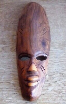wooden African wall mask