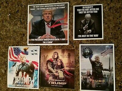 Lot Of 5 Donald Trump 2020 Funny Pro TRUMP Stickers Super Hero Thor Deep State