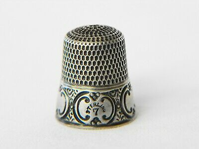 Antique sewing thimble sterling silver by Simons Bros #7