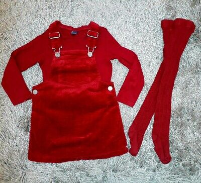 Girls Aged 2-3 Next Red Cordoroy Dress Top And Tights Outfit