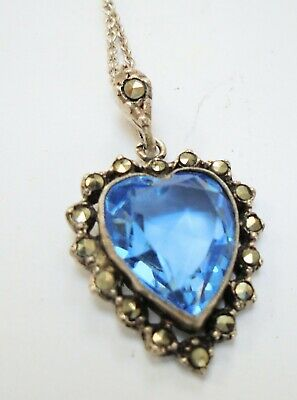Fine antique sterling silver, marcasite & sapphire paste heart pendant  + chain
