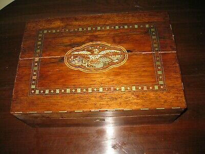 Antique 1800's Inlaid Wood Marquetry Folk Art Letter Document Box American Eagle