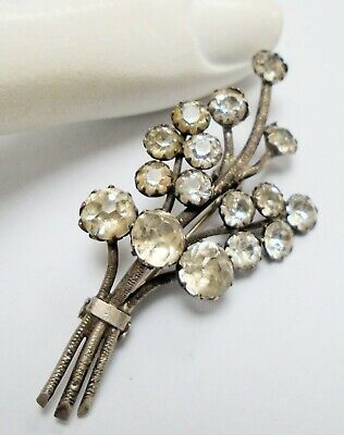 Fine quality antique sterling silver & diamond paste flower design brooch
