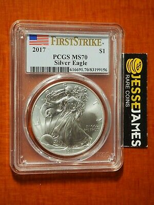2017 $1 American Silver Eagle Pcgs Ms70 Flag First Strike Label