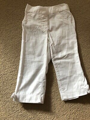 Next Age 3-4 Girls White Linnen Trousers