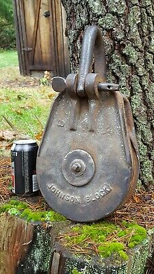 "Huge 8"" Wheel Johnson Pulley Block Hoist"