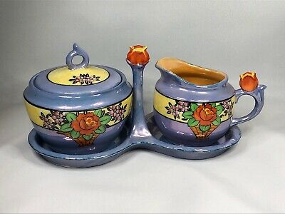 Lusterware Creamer and Sugar Bowl With Caddy Flowers Tulips Japan Vintage