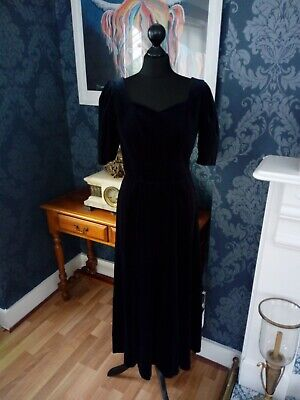 Stunning Vintage 80S Laura Ashley Midnight Blut Velvet Dress Size 10