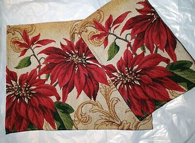 """Christmas Table Doily Placemat Poinsettia Tapestry 17.5"""" x 13.5"""""""