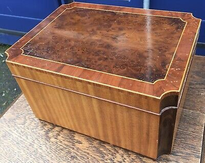 Quality Yew Multi Wood Sewing Work Jewellery Jewell Box