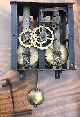 Antique Early? Wind Up Old Vintage Clock Movement Works