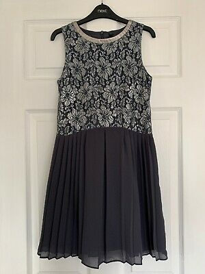 Gorgeous Girls Next Grey Silver Party Dress Great Condition Age 11