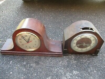 2x VINTAGE OLD ANTIQUE MANTLE CLOCKS FOR SPARES OR REPAIR