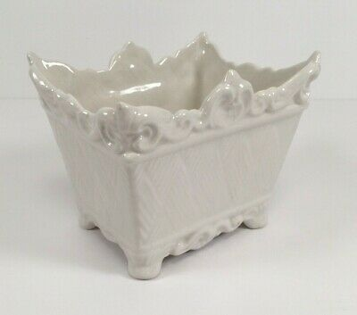 Italy Raised Basketweave Footed Planter White Ceramic