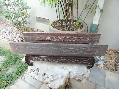 983P. Antique Carved Wood Panel  two pcs/set with Flower