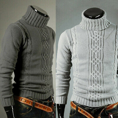 Mens Thermal Pullover Turtle Neck Skivvy Turtleneck Sweaters Stretch Jumper Top