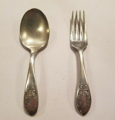 Antique Silver - Baby Fork & Spoon Set - Conn. S. Co. #6473