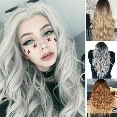 Womens Ladies Real Ombre Blonde Long Curly Wigs Natural Wavy Hair Cosplay Wig UK