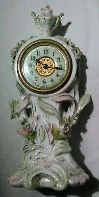 Vintage #13 Ansonia Clock Company NewYork Antique Mantle Clock German Porcelain