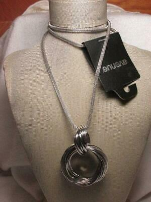 Avenue Silver Tone Multi Ring Pendant Mesh Chain Long Necklace New Old Stock